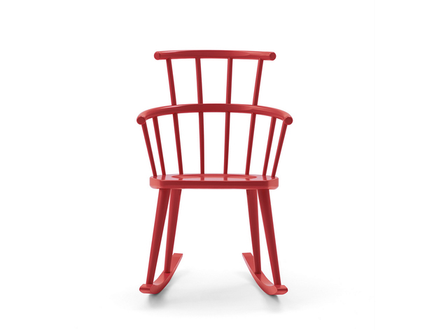 red rocker chair by Billiani in lacquered wood 2 thumb 630xauto 53863 Red Rocker Chair by Billiani in Lacquered Wood