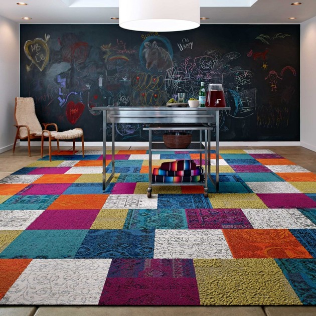 these patchwork rug squares by flor bring the room happiness 2 thumb 630xauto 54064 These Patchwork Rug Squares by FLOR Bring the Room Happiness