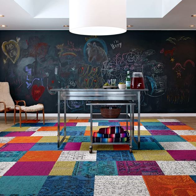 these patchwork rug squares by flor bring the room happiness thumb 630xauto 54062 These Patchwork Rug Squares by FLOR Bring the Room Happiness