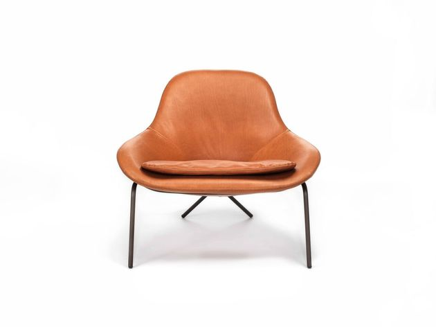 cross leg chair 2 leather by magnus long thumb 630xauto 54255 Comfortable Leather Lounge Chair   Cross Leg Chair by Magnus Long