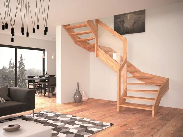 contemporary open wooden frame staircases with glass railing by Rintal 1 thumb 630xauto 55506 Contemporary Open Wooden Frame Staircases with Glass Railing by Rintal   Visio