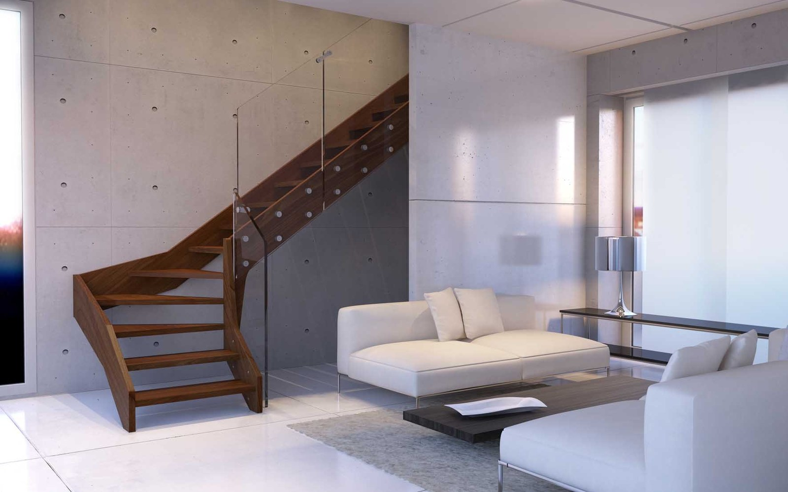 Contemporary Open Wooden Frame Staircases With Glass Railing ...