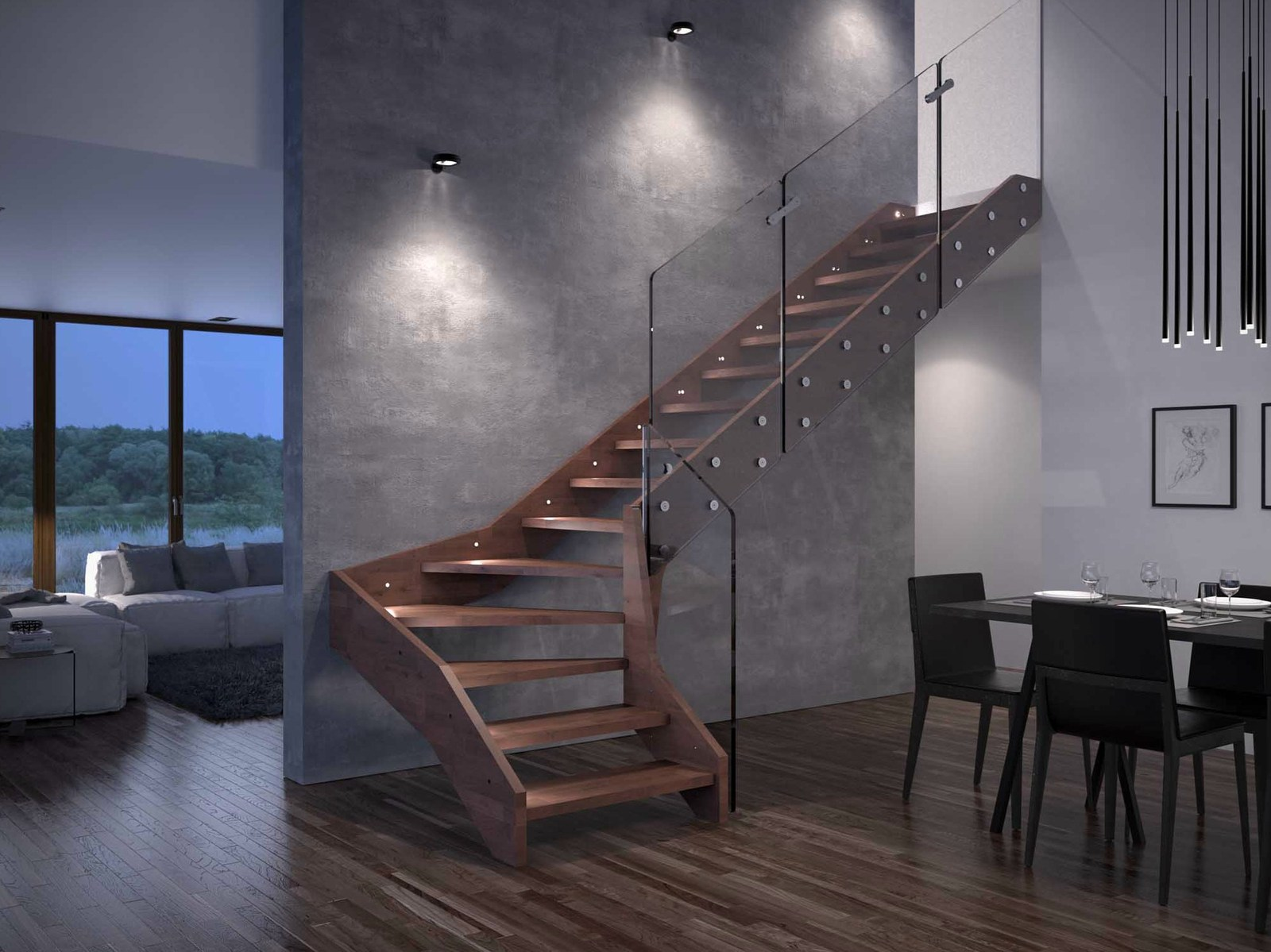 Captivating View In Gallery Contemporary  Open Wooden Frame Staircases With Glass Railing  Home Design Ideas