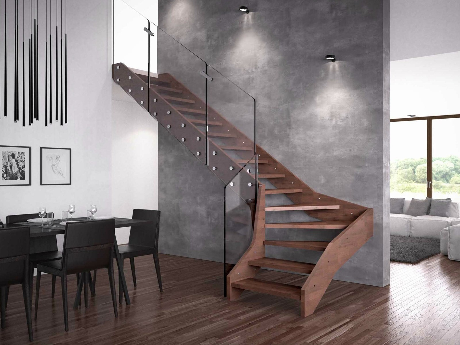 Contemporary Open Wooden Frame Staircases with Glass ...