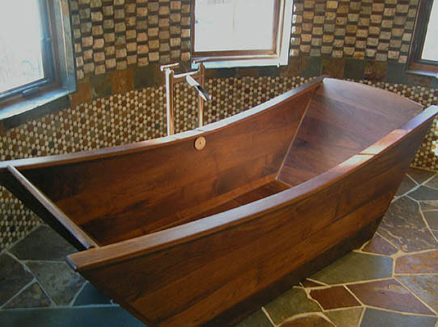 View In Gallery Custom Tub Walnut Bath In Wood Of Maine