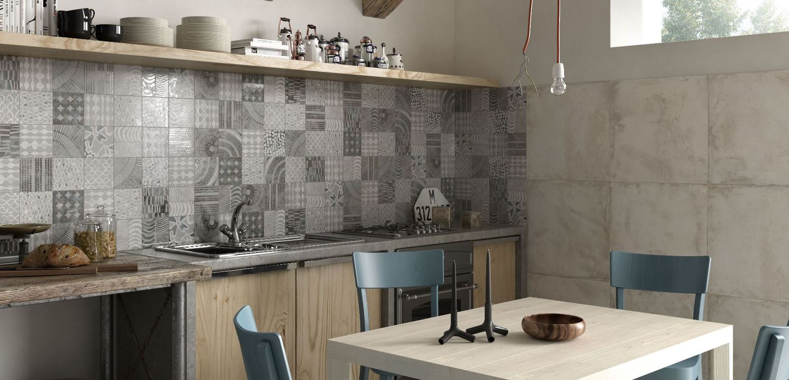 Bon View In Gallery Kitchen Backsplash In Grey  Monochrome Patchwork Patterns Ricchetti.