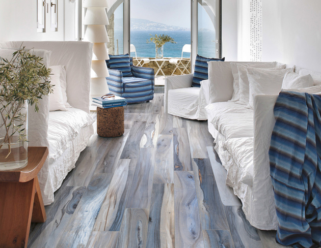 View In Gallery Petrified Wood Look Tile Kauri Tasman Blue Plank