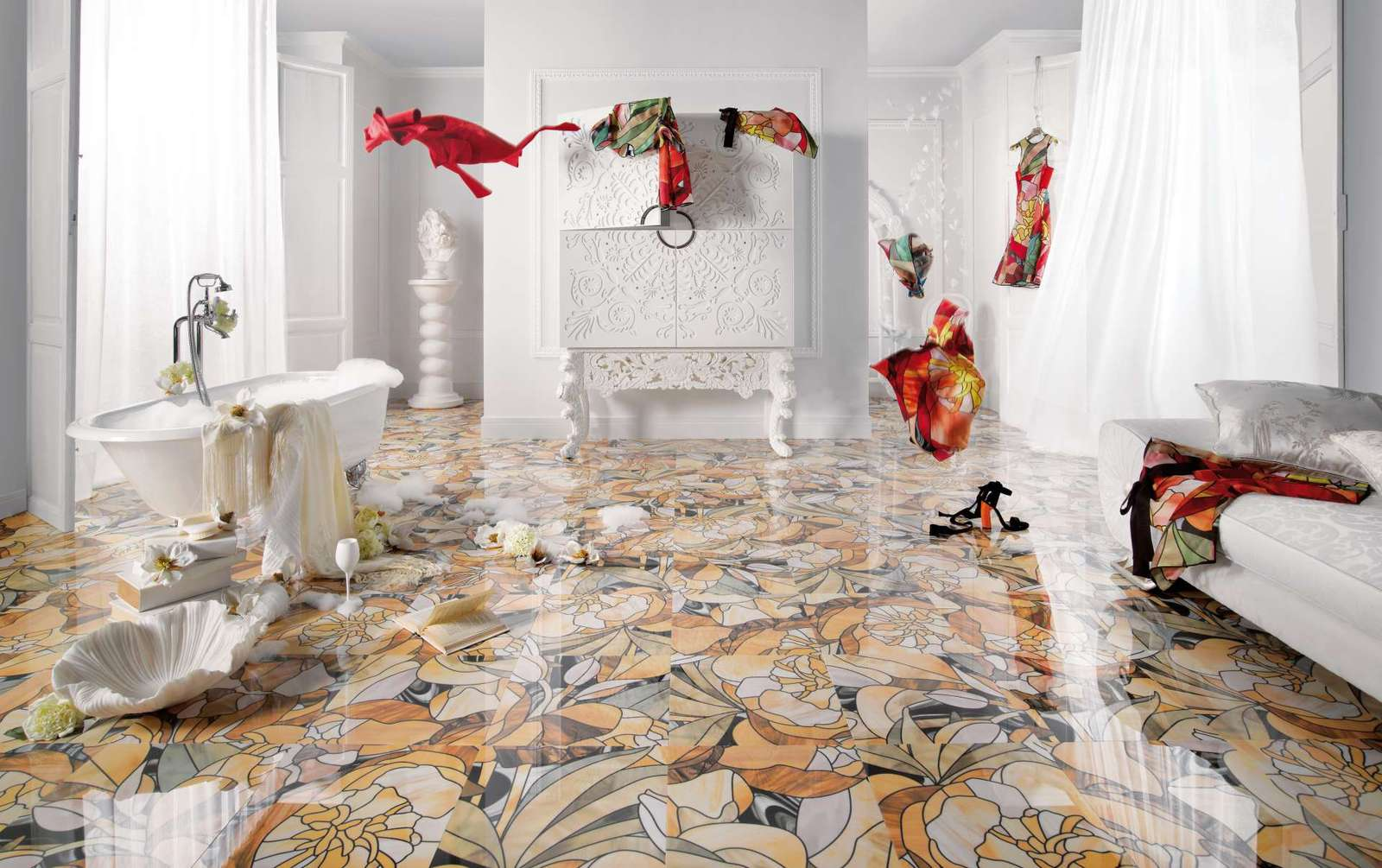 modern tile floor. View In Gallery Floral Motif Printed Tile Peronda Candela Thumb 630xauto  56172 25 Beautiful Tile Flooring Ideas For Living Room Kitchen And