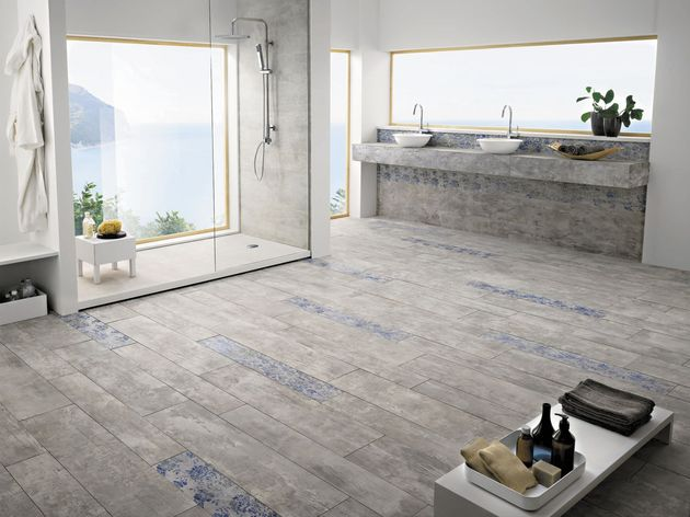 View In Gallery La Fabbrica Concrete Look Tile Bathroom Floor