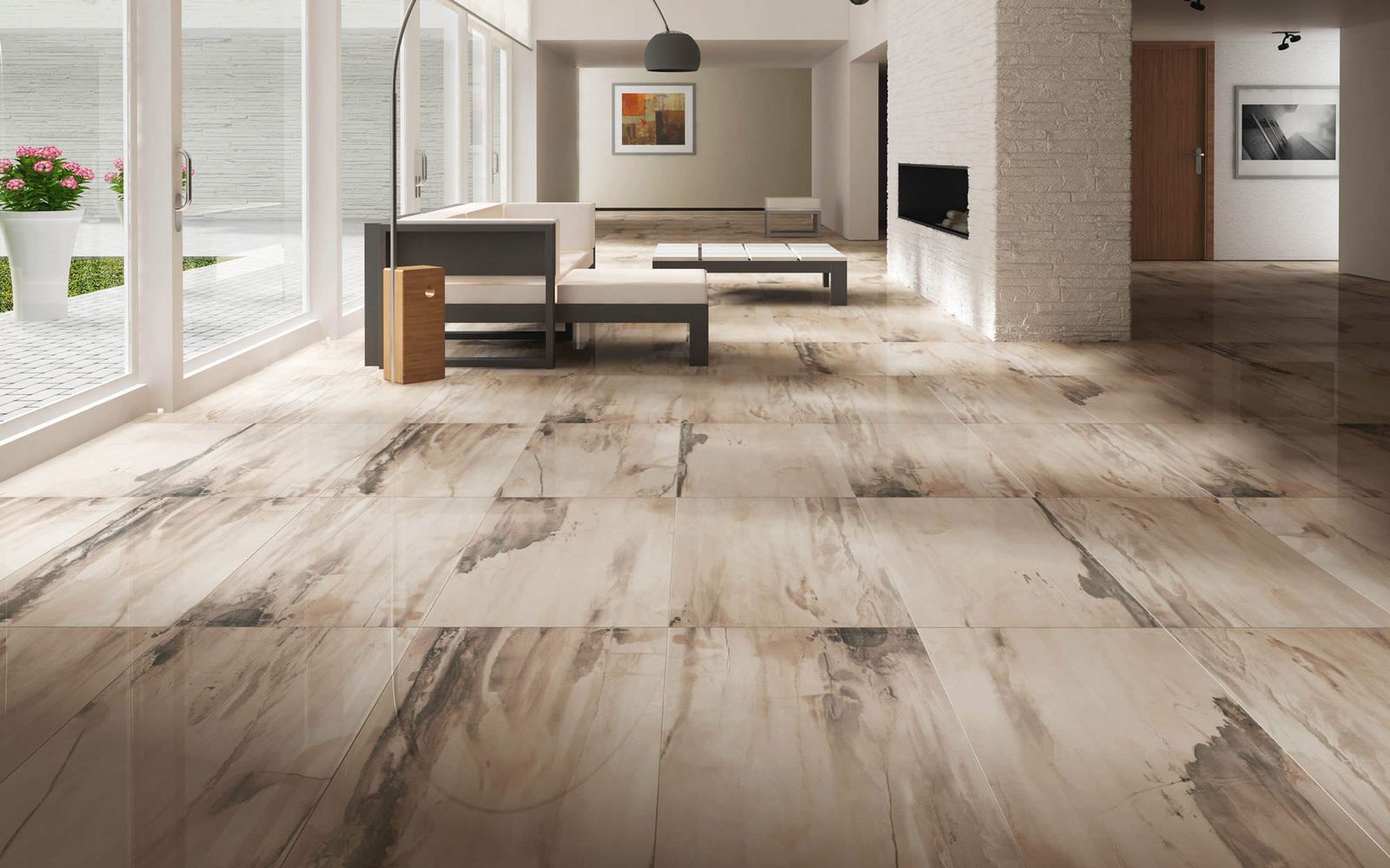 Porcelain Tile Flooring Living Room