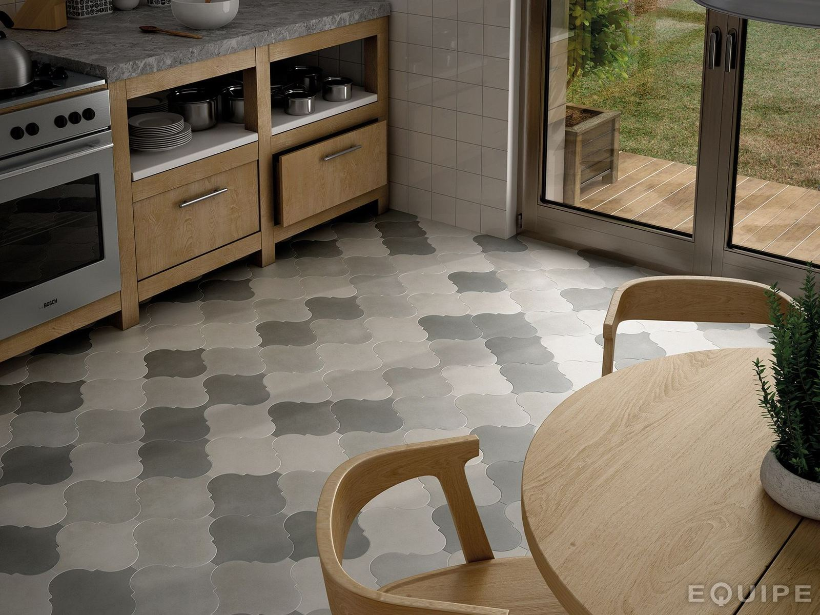 View In Gallery Arabesque Tile Floor Kitchen Grey 9