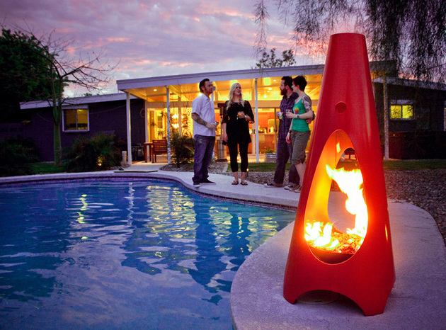 tall cone shaped modern metal fire pit design urbanfire thumb 630xauto 57314 35 Metal Fire Pit Designs and Outdoor Setting Ideas