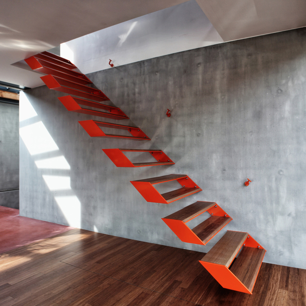 unusual-unique-staircase-modern-home-orange-metal.jpg