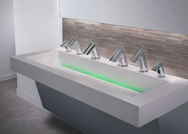 1 soap rinse dry aer dec no touch integrated sink thumb 630xauto 60147 One Sink Does All Three: Soap, Wash and Dry Touch Free