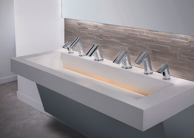 2 soap rinse dry aer dec no touch integrated sink thumb 630xauto 60149 One Sink Does All Three: Soap, Wash and Dry Touch Free