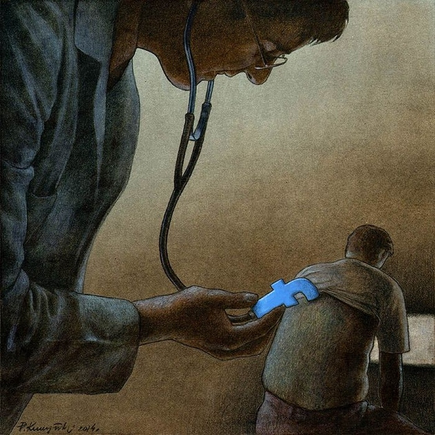 pawel facebook doctor thumb autox631 66829 Cartoonist Pawel Kuczynski Takes on Facebook with His Thought Provoking Art