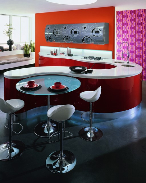 astercucine kitchen domina 1 Contemporary Kitchen Design by Aster Cucine   Domina kitchen: Emotions in curved line