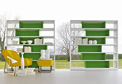 asymmetrical shelf unit colored shelving molteni 1 Asymmetrical Shelf Unit With Colored Shelving by Molteni