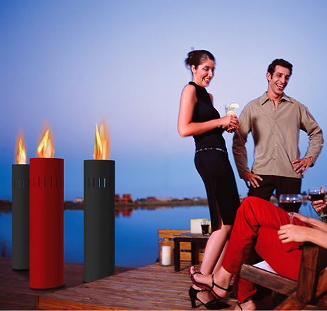 attika delight gas pillars Modern Outdoor Gas Fire Collection by Attika