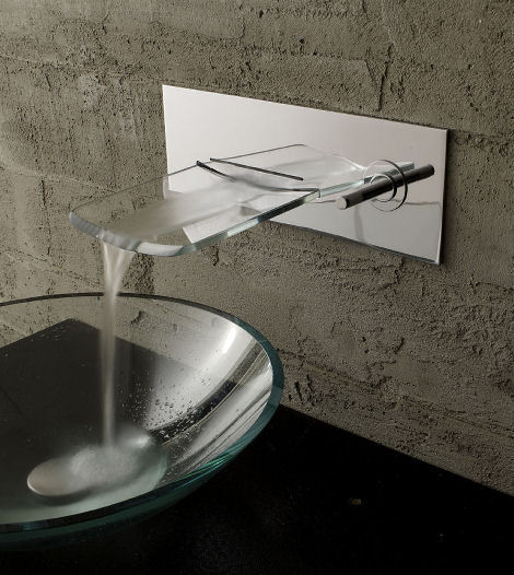 Bandini Arya Crystal Wall Mounted Faucet Bathroom From The Glass Waterfall