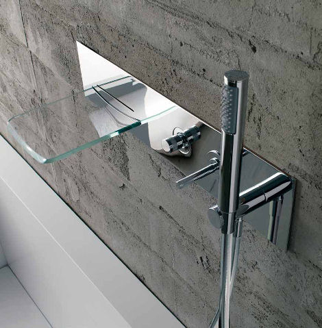 bandini arya wall mounted tub filler Bathroom Faucet from Bandini   the Arya Glass Waterfall Faucet