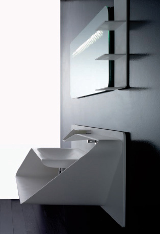 Bandini integrated sink-faucet Arya with a mirror