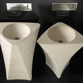 Natural Stone Washbasin from Bandini – the Prisma and Vela Moonstone washbasins