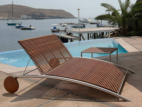 Beltempo Outdoor Furniture Deck Chair Modern From Wood And Metal Contemporary Design