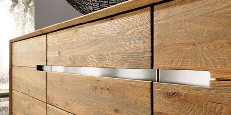 Bergmann furniture metal handles built-in in wood
