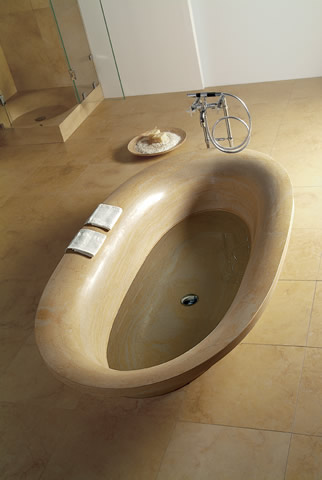 Leonardo stone bathtub shaped as vortex