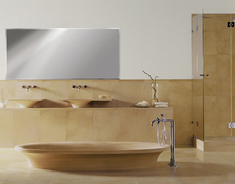 Bigelli Marmi Leonardo bathroom - view on bathtub and countertop sinks
