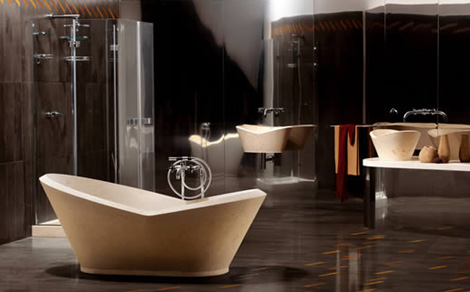 bigellimarmi bathroom mika 1 Karim Rashid Stone Bathroom Design from Bigelli Marmi – Mika has a powerful presence
