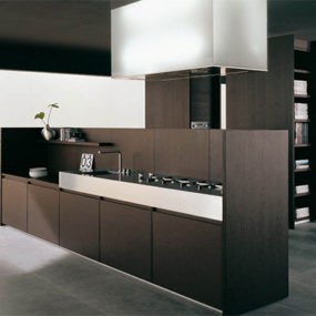 Iconic Kitchen Design by Binova – Modus kitchen combines dark wood and tall stature