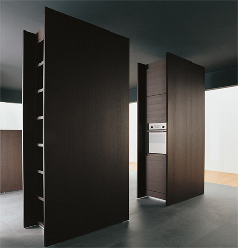binova modus kitchen storage units Iconic Kitchen Design by Binova   Modus kitchen combines dark wood and tall stature