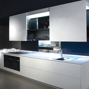 Prima AV Kitchen from Binova – sliding doors system enables two-sided design