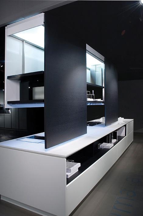 binova prima av kitchen cabinets Prima AV Kitchen from Binova   sliding doors system enables two sided design