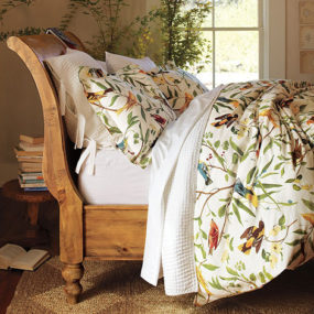 Bird Motif Bedding – spring decorating idea from Pottery Barn