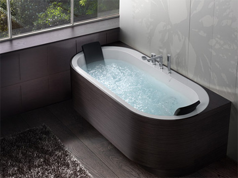Blubleu whirlpool bathtub Yuma Art in dark wood