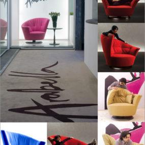Plush Swivel Chair by Giorgetti USA – flexible Arabella