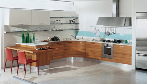 Bunob kitchen by Bontempi Cucine – smooth curving cabinets