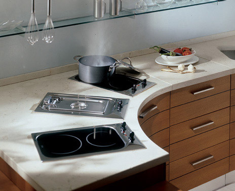 bontempi bunob kitchen2 Bunob kitchen by Bontempi Cucine   smooth curving cabinets