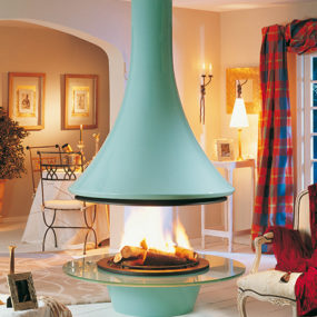 Ceiling Hanging Fireplace Eva from Bordelet – bold and beautiful central chimney