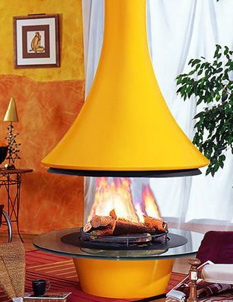 bordelet fireplace eva color Ceiling Hanging Fireplace Eva from Bordelet   bold and beautiful central chimney