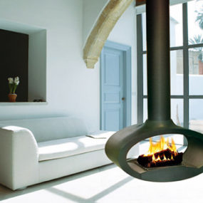 Suspended Wood Fireplace from Brisach – Ovalie fireplace pivots 360 degrees
