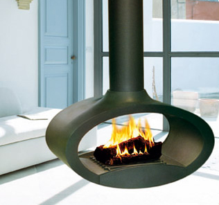 Suspended Wood Fireplace from Brisach - Ovalie fireplace pivots 360 ...