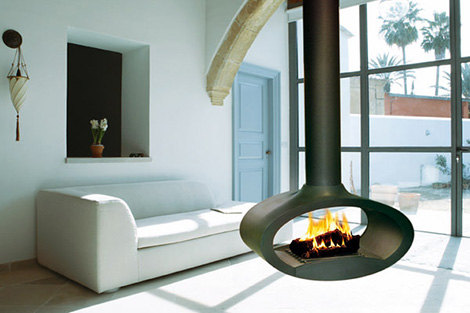 brisach suspended wood fireplace ovalie Suspended Wood Fireplace from Brisach   Ovalie fireplace pivots 360 degrees