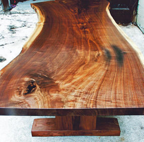 Canadian Black Walnut slab dining table from Broadbent Furniture – custom luxury wood furniture