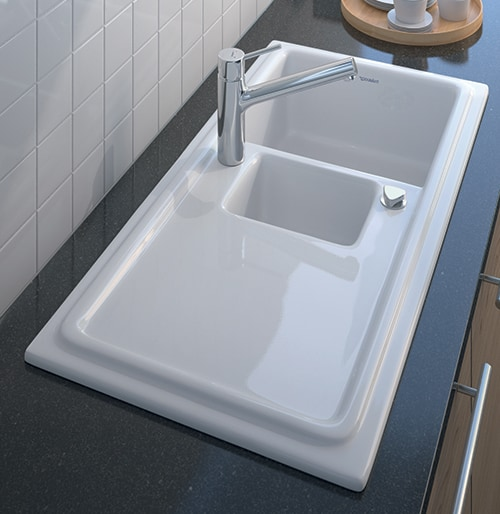 built in ceramic kitchen sinks duravit cassia duraceram 1 Built in Ceramic Kitchen Sink by Duravit   new Cassia