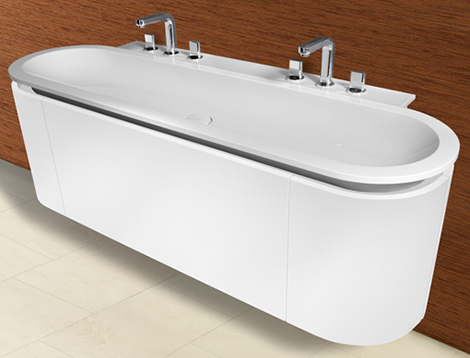 burgbad lavo bath double sink Rounded Bathroom Vanity and Cabinets by Burgbad