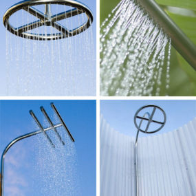 Outdoor wall mount showers from Calazzo